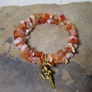 Jewelry - 1603 Carnelian & fairy on the moon charm bracelet